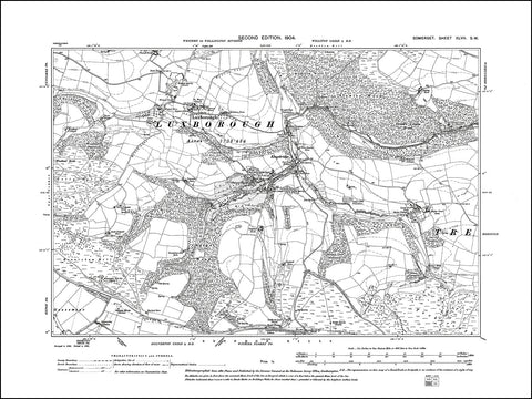 SOMERSET 047SW : old map of Luxborough in 1904