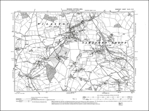 SOMERSET 048NW : old map of Williton, Sampford Brett in 1904