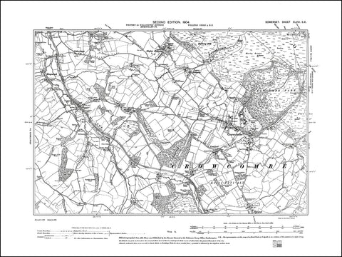 SOMERSET 048SE : old map of Crowcombe in 1904