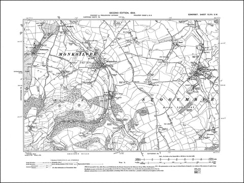 SOMERSET 048SW : old map of Stogumber, Monksilver, Nettlecombe in 1904