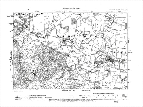 SOMERSET 049NW : old map of Nether Stower, Holford, Dodington in 1904