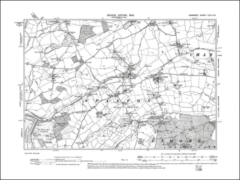SOMERSET 049SE : old map of Spaxton, Charlinch in 1905