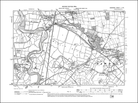 SOMERSET 050NE : old map of Bawdrip, Puriton (south), Chilton Trinity in 1904