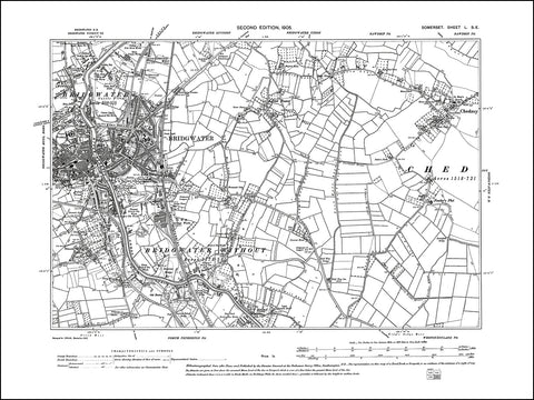 SOMERSET 050SE : old map of Bridgwater, Chedzoy in 1905