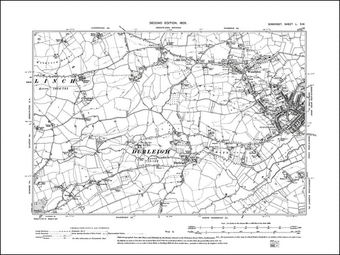 SOMERSET 050SW : old map of Bridgwater (west), Wembdon, Durleigh in 1905