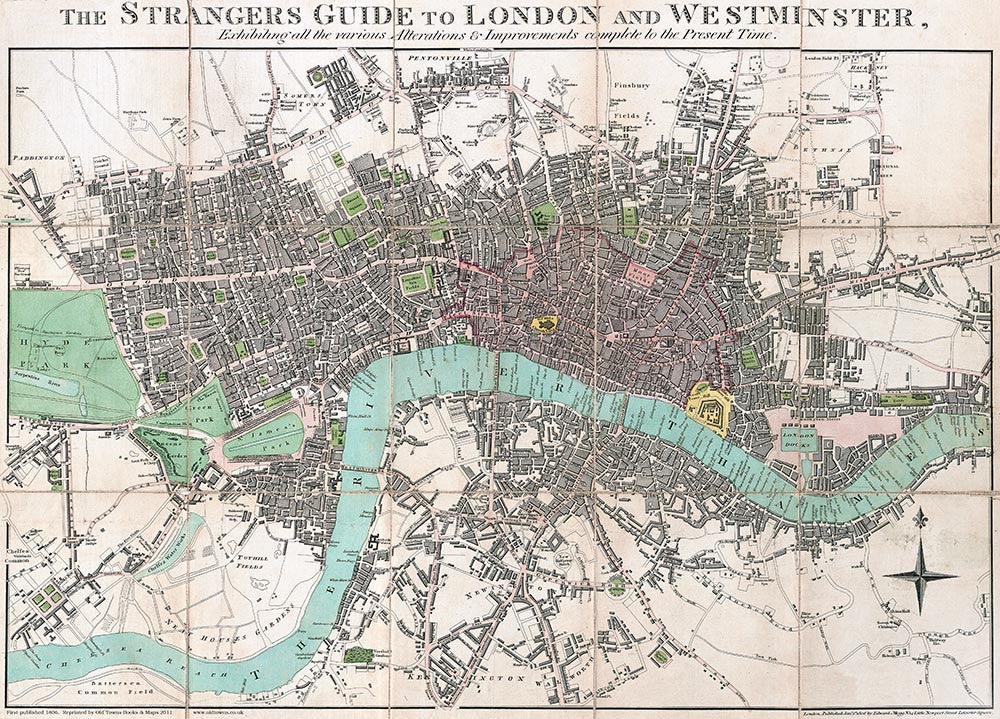 London Map Guide.The Strangers Guide To London And Westminster By Edward Mogg 1806