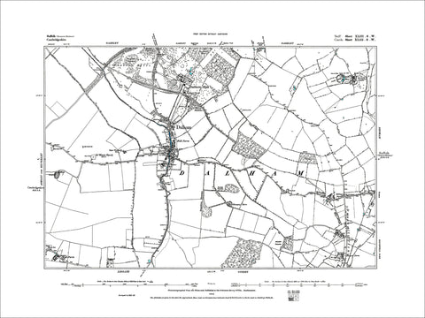 SUFFOLK 043SW : old map of Dalham in 1883