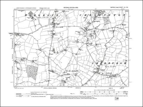 SUFFOLK 053NE : old map of Chedburgh, Chevington, Hargrave Green in 1905
