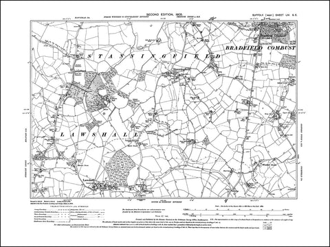 SUFFOLK 054SE : old map of Lawshall, Stanningfield, Bradfield Combust in 1905
