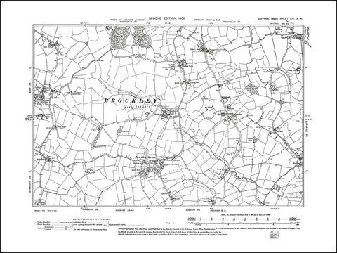 SUFFOLK 054SW : old map of Rede, Brockley Green in 1905