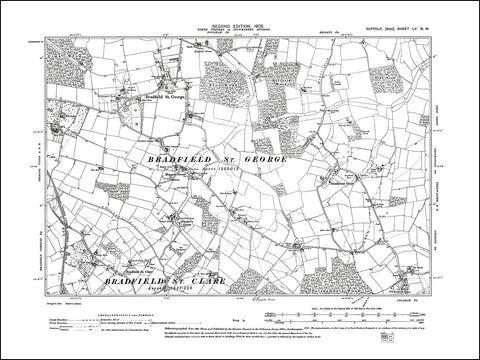 SUFFOLK 055NW : old map of Bradfield St George & St Clare, Maypole Green in 1905