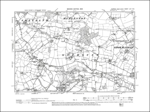 SUFFOLK 056NW : old map of Harleston, Onehouse, Shelland, Buxhall Fen St in 1905