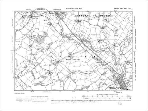 SUFFOLK 056SE : old map of Needham Market north, Combs Ford in 1905