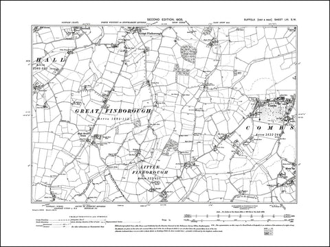 SUFFOLK 056SW : old map of Combs, Great Finborough (south), High Street Green in 1905
