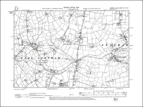 SUFFOLK 057NW : old map of Stonham Aspall, Little & Earl Stonham, Forward Green in 1905