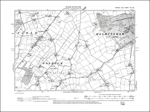 SUFFOLK 057SE : old map of Crowfield, Gosbeck in 1905