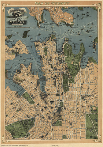 Pictorial City Plan of Sydney, Australia in 1922
