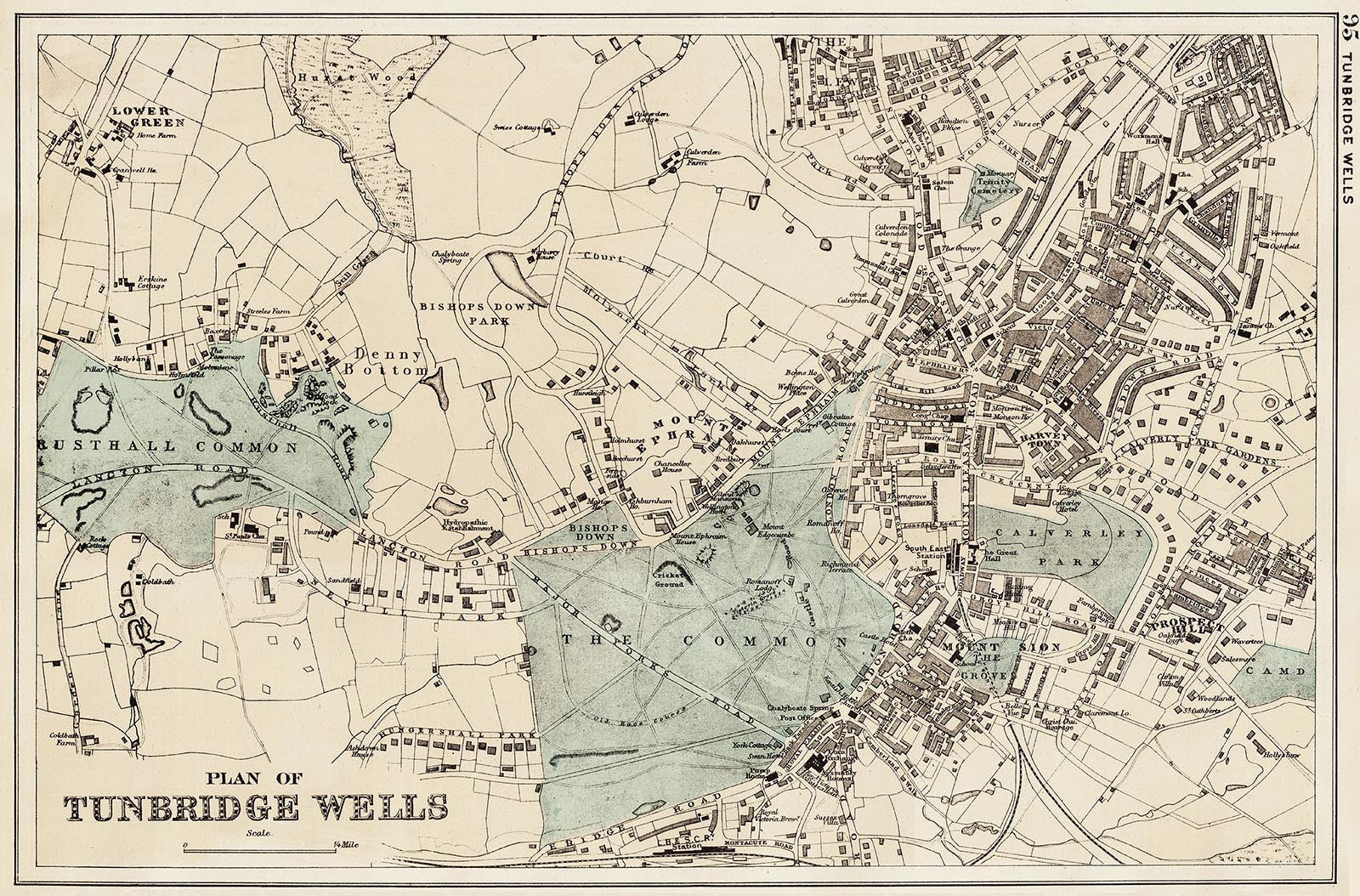 Tunbridge Wells town plan 1890 Old Towns Maps
