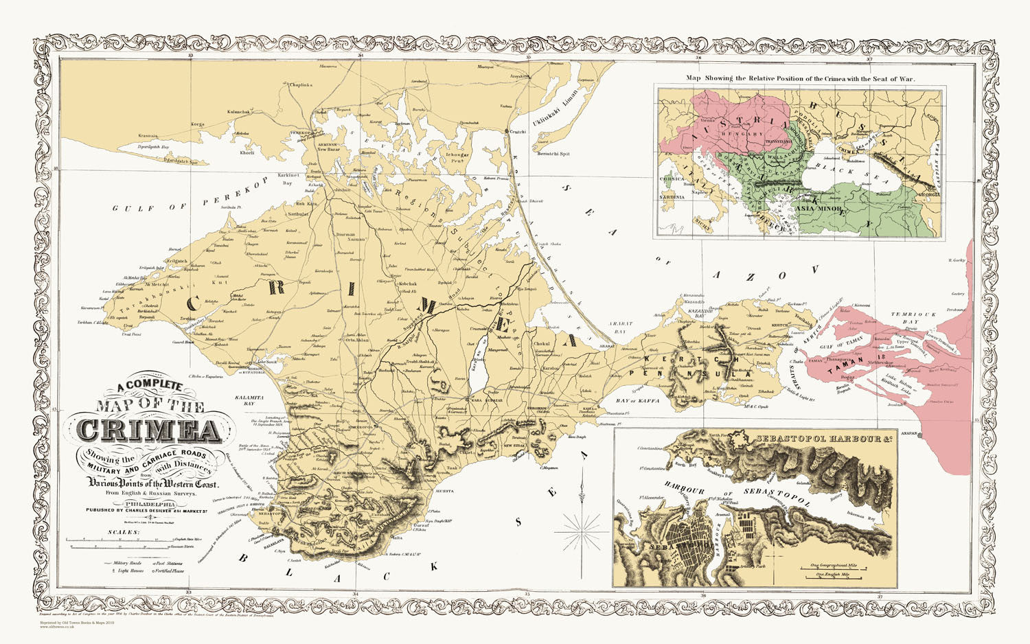 An old map titled Map of The Crimea 1859, and plan of Sebastopol ...