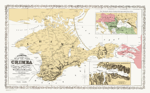 Map of The Crimea 1859, and plan of Sebastopol Harbour