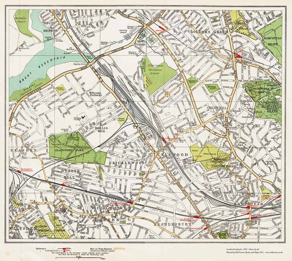 Cricklewood, West Hampstead area (London 1932 Sheet 41-42)