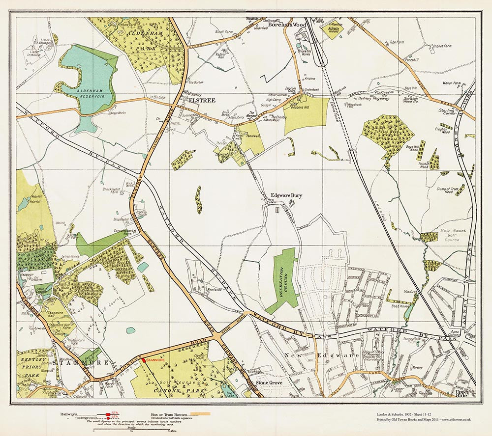 Elstree Edgware North Stanmore Area Old Towns Maps - Map of north london areas