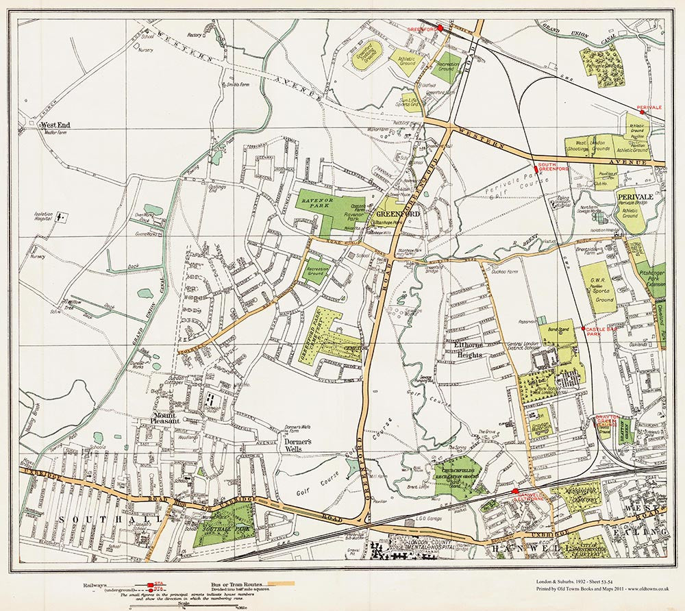 Greenford, Southall (north) area (London 1932 Sheet 53-54)