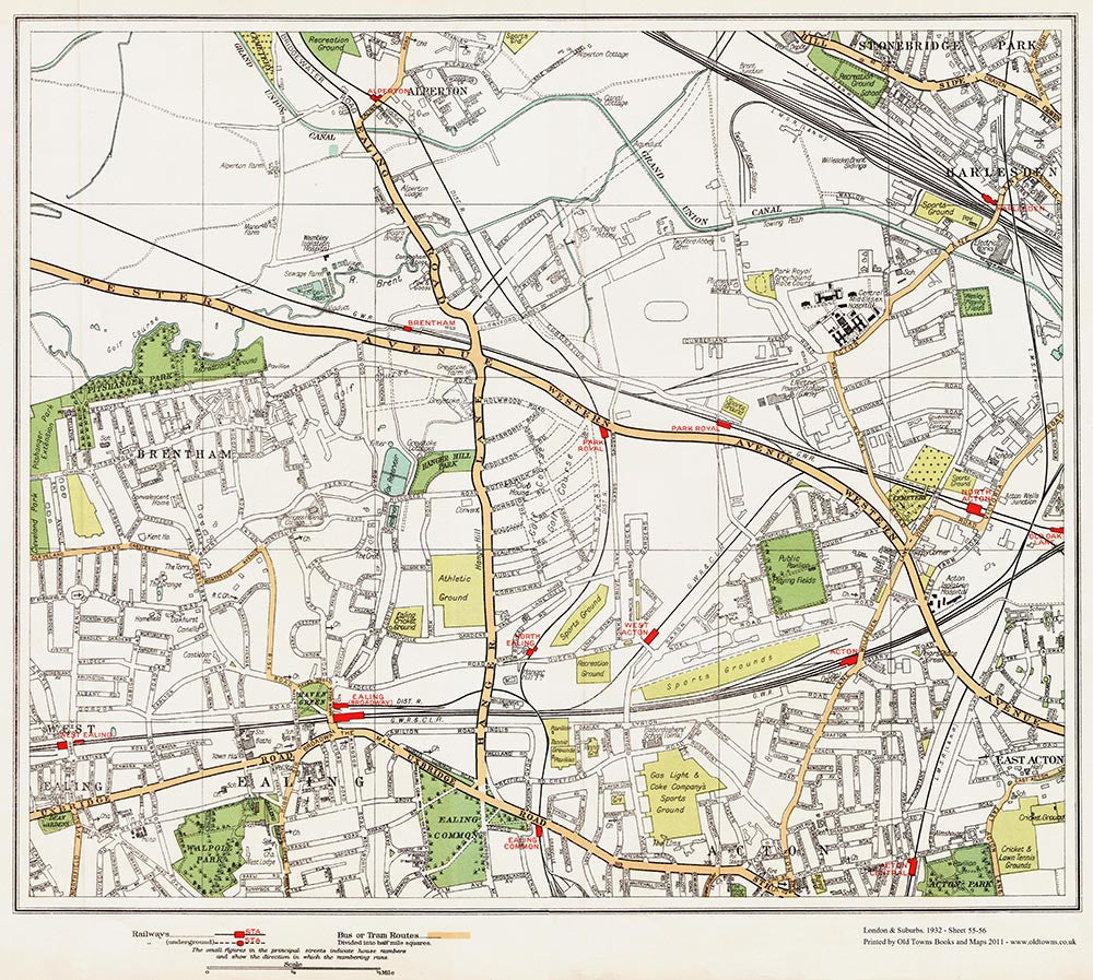 Ealing north Brentham area 1932 Old Towns Maps