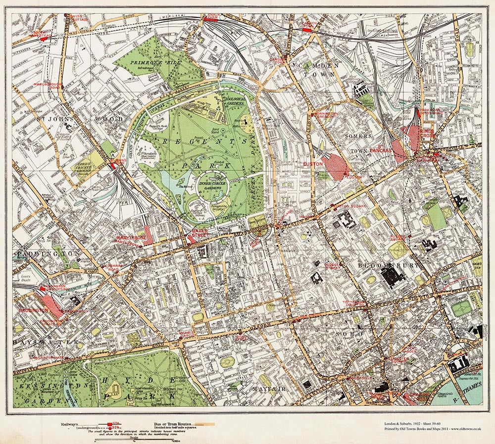 Regents Park Mayfair area 1932 Old Towns Maps