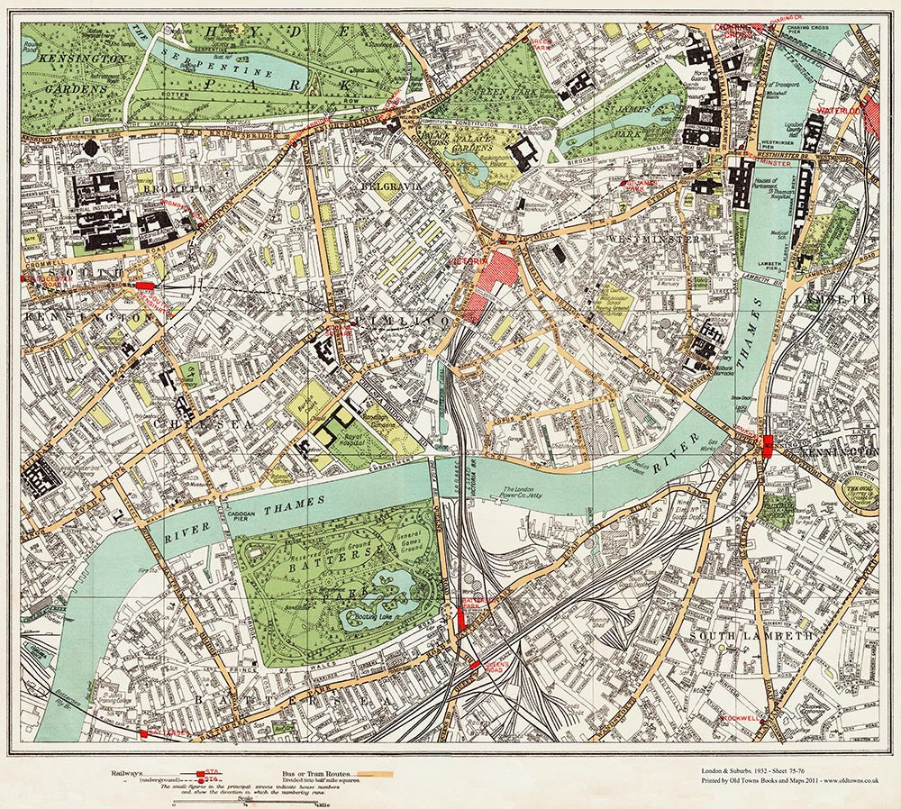 Pimlico London Map.Brompton Pimlico Westminster Area 1932 Old Towns Maps