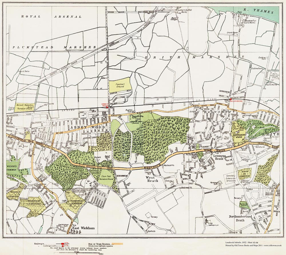 Map Of London And Surrounding Suburbs.London Suburbs 1932 Old Towns Maps