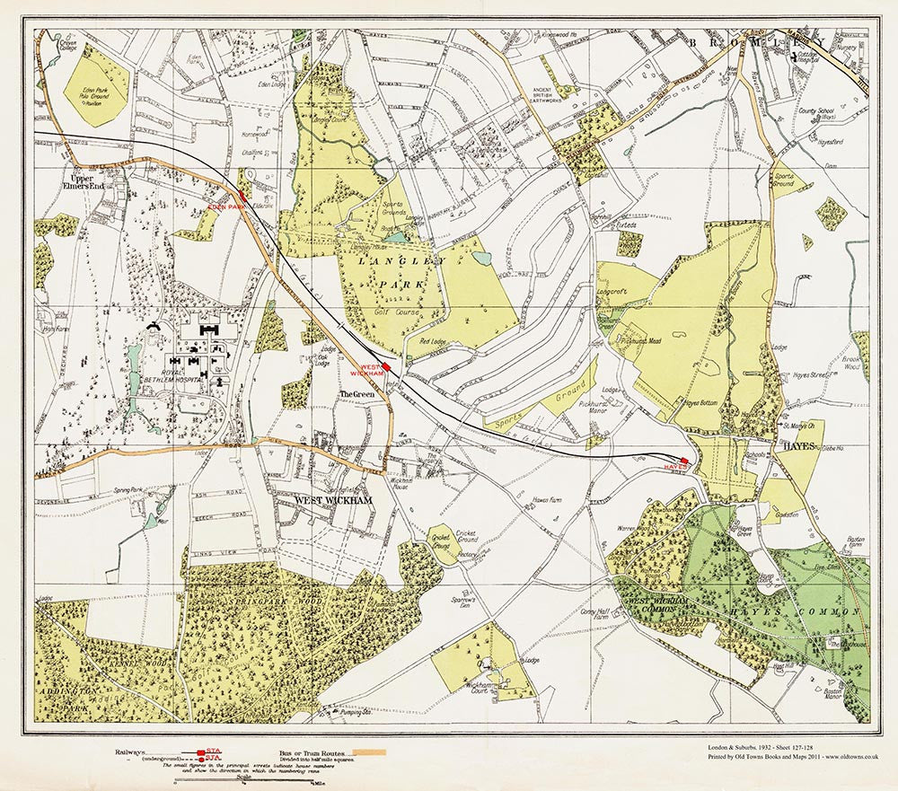 South West London Map.Bromley South West Wickham Hayes Area London 1932 Sheet 127 128