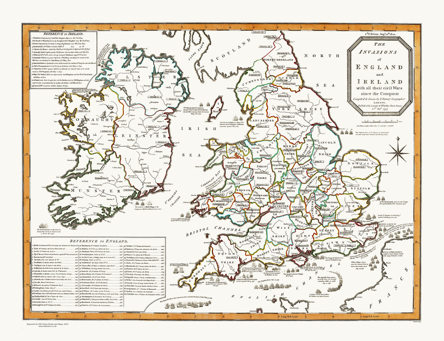 Map Of England And Ireland With Towns.The Invasions Of England Ireland With All Their Civil Wars Since The Conquest 1801