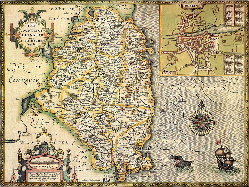 Map Of Ireland Leinster.Ireland Leinster John Speed 1610