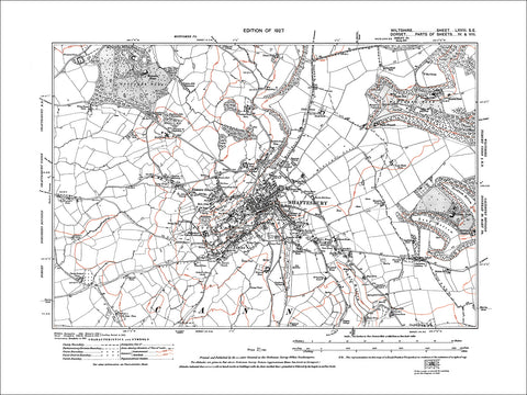 Dorset sheet pts 4-8 - old map of Shaftesbury in 1927