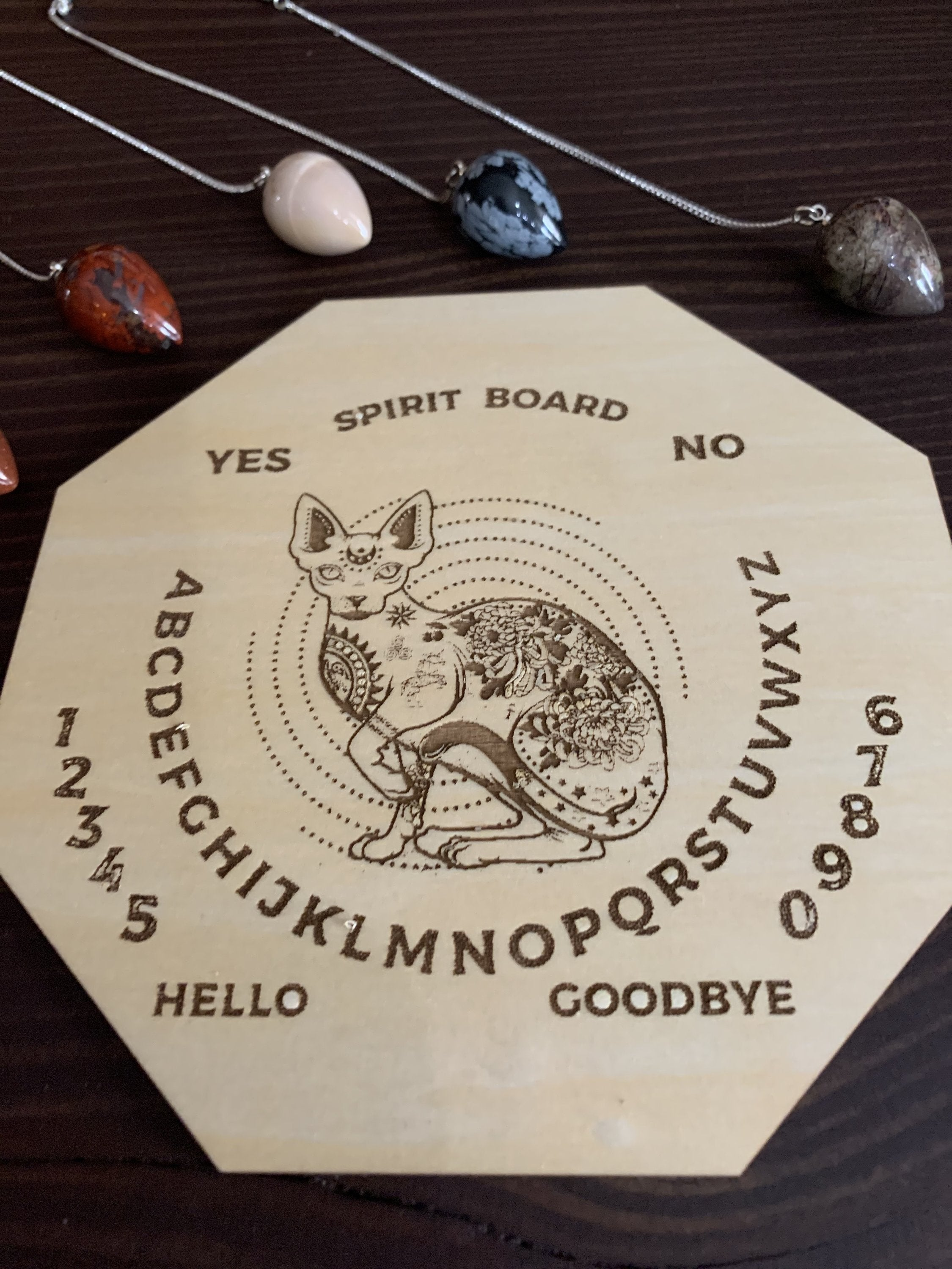 Wood Mystic Cat Pendulum Spirit Board