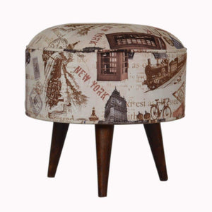 Footstool City Print Footstool | Wooden Legs