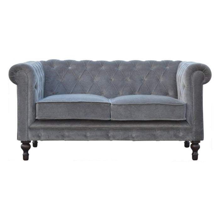 Chesterfield Sofa | 2 Seater | Grey | Velvet