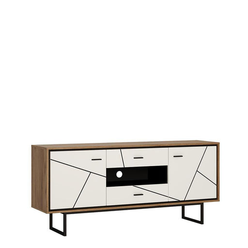 Brolo 2 door 2 drawer TV unit White, Black, and dark wood