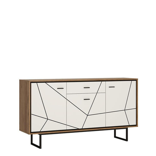 Cabinet Brolo Sideboard | 3 Door 1 Drawer | White, Black & Dark Wood