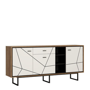 Cabinet Brolo Wide Sideboard | 3 Door 1 Drawer | White, Black & Dark Wood
