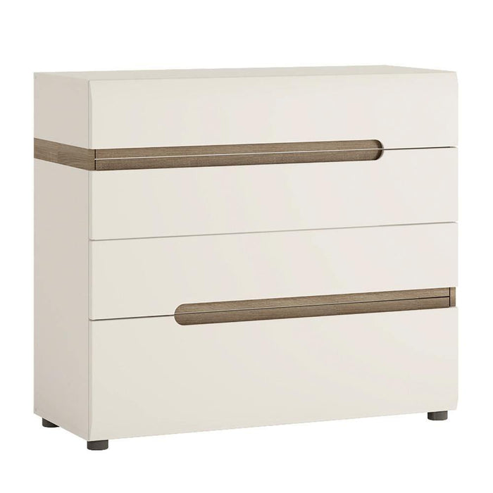 Chelsea 4 Drawer Chest | White with Oak Trim