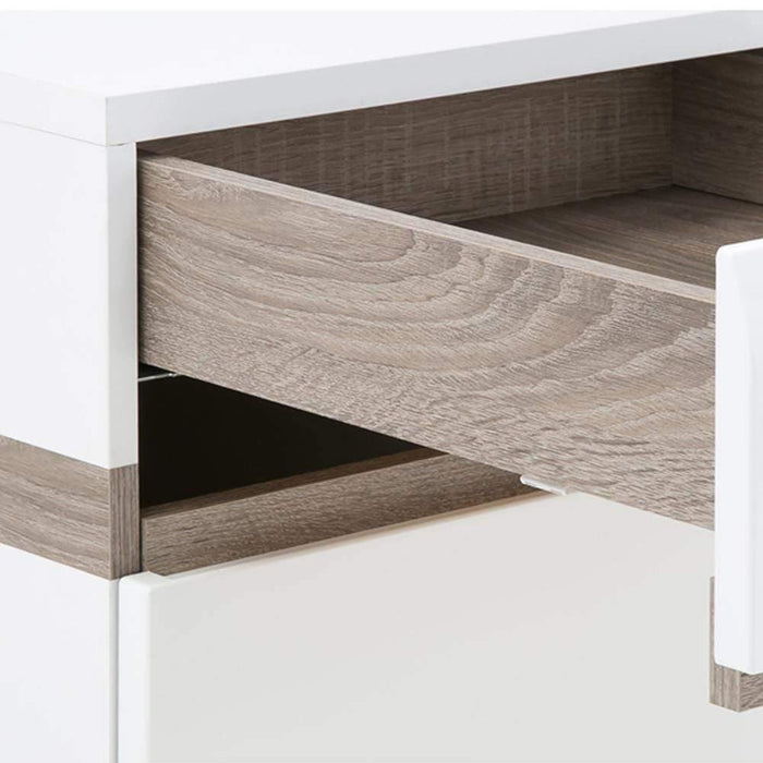 Cabinet Chelsea 4 Drawer Chest | White with Oak Trim