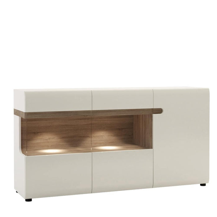 Chelsea Sideboard | Glazed | 3 Door | White with Oak Trim