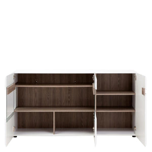 Cabinet Chelsea Sideboard | Glazed | 3 Door | White with Oak Trim