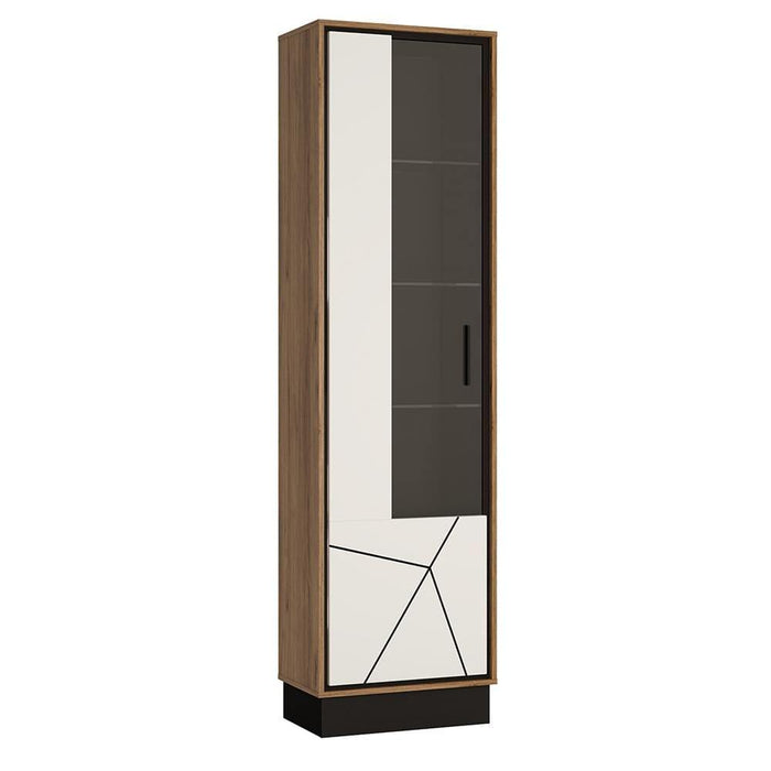 Cabinet Left Hand Brolo Tall Glazed Display Cabinet | White, Black & Dark Wood