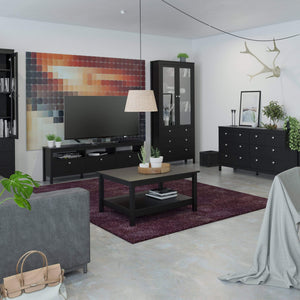 Cabinet Madrid | Display Cabinet | 2 doors | 3 drawers | Glass Front | Matt Black