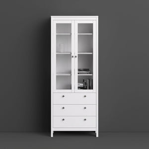 Cabinet Madrid | Display Cabinet | 2 doors | 3 drawers | Glass Front | White