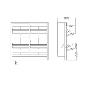 Cabinet Madrid | Shoe Cabinet | 4 Compartments | White