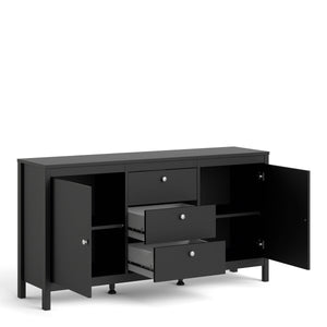 Cabinet Madrid | Sideboard | 2 Doors | 3 Drawers | Matt Black